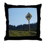 Farmer Crossing Sign Throw Pillow