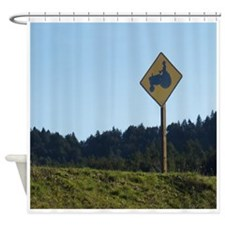 Farmer Crossing Sign Shower Curtain