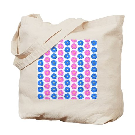 Pink And Blue Flower Pattern. Tote Bag By Metarla2