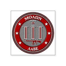 """Red Molon Labe 3"""" x 3"""" Square Sticker"""