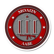 Red Molon Labe Round Car Magnet