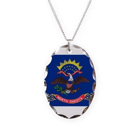 Flag of North Dakota Necklace Oval Charm