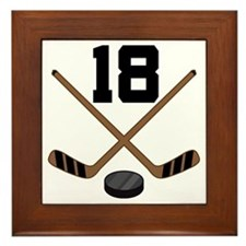 Hockey Player Number 18 Framed Tile