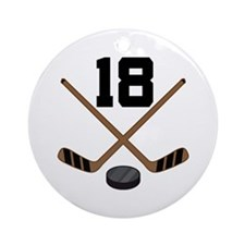 Hockey Player Number 18 Ornament (Round)