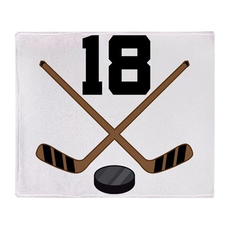 Hockey Player Number 18 Throw Blanket