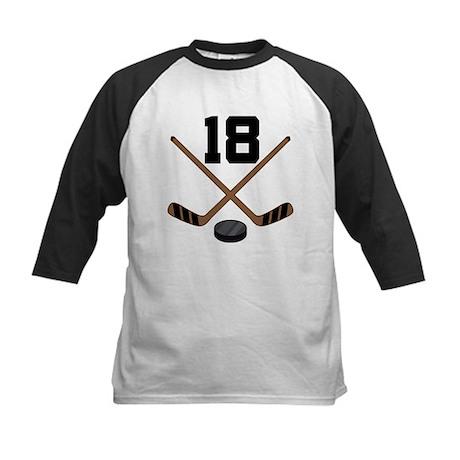 Hockey Player Number 18 Kids Baseball Jersey