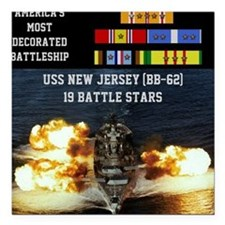 """USS NEW JERSEY (BB-62) Square Car Magnet 3"""" x 3"""""""