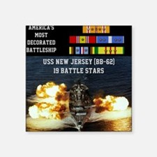"USS NEW JERSEY (BB-62) Square Sticker 3"" x 3"""