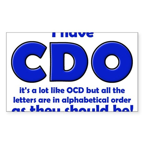 OCD CDO Funny T-Shirt Sticker (Rectangle)
