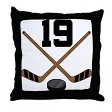 Hockey Player Number 19 Throw Pillow