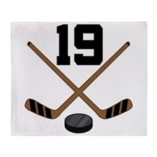 Hockey Player Number 19 Throw Blanket