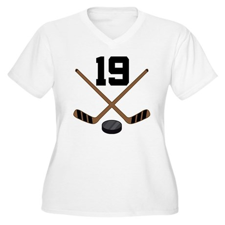 Hockey Player Number 19 Women's Plus Size V-Neck T