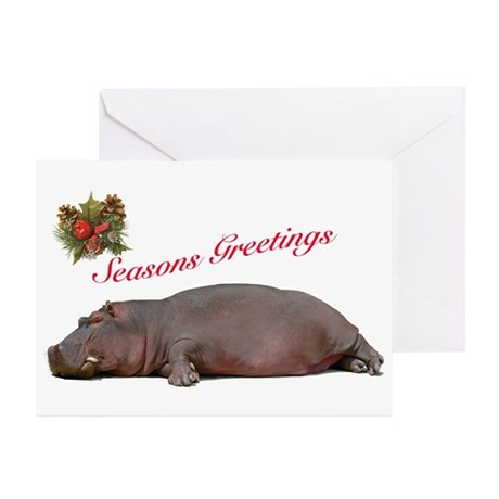 Season's Greetings Hippo Greeting Cards (Pkg10)