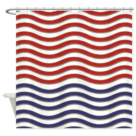 Red, White and Blue Waves Shower Curtain