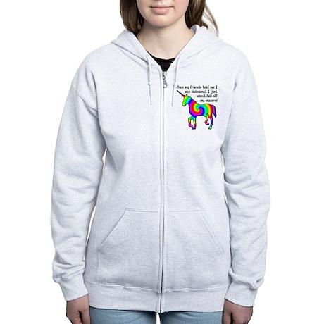 Delusional Unicorn Funny T-Shirt Women's Zip Hoodi