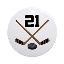 Hockey Player Number 21 Ornament (Round)