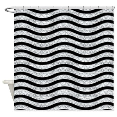 Silver And Black Waves Shower Curtain By Cheriverymery