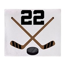 Hockey Player Number 22 Throw Blanket