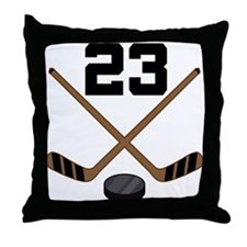 Hockey Player Number 23 Throw Pillow