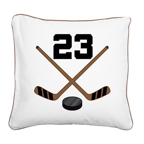 Hockey Player Number 23 Square Canvas Pillow