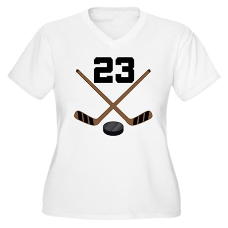 Hockey Player Number 23 Women's Plus Size V-Neck T
