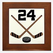 Hockey Player Number 24 Framed Tile