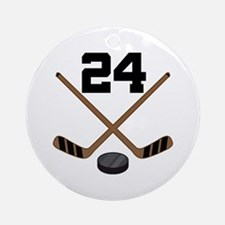 Hockey Player Number 24 Ornament (Round)
