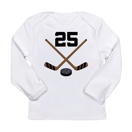 Hockey Player Number 25 Long Sleeve Infant T-Shirt