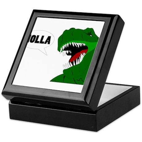 Funny T-rex dinosaur Holla design Keepsake Box