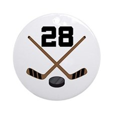 Hockey Player Number 28 Ornament (Round)