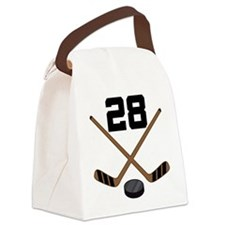 Hockey Player Number 28 Canvas Lunch Bag