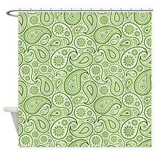 Olive Green White Vintage Paisley Pattern Shower C