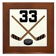 Hockey Player Number 33 Framed Tile