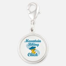 Mountain Biking Chick #3 Silver Round Charm