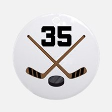 Hockey Player Number 35 Ornament (Round)