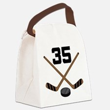 Hockey Player Number 35 Canvas Lunch Bag