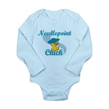 Needlepoint Chick #3 Long Sleeve Infant Bodysuit