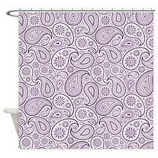 Purple Plum White Vintage Floral Paisley Shower Cu