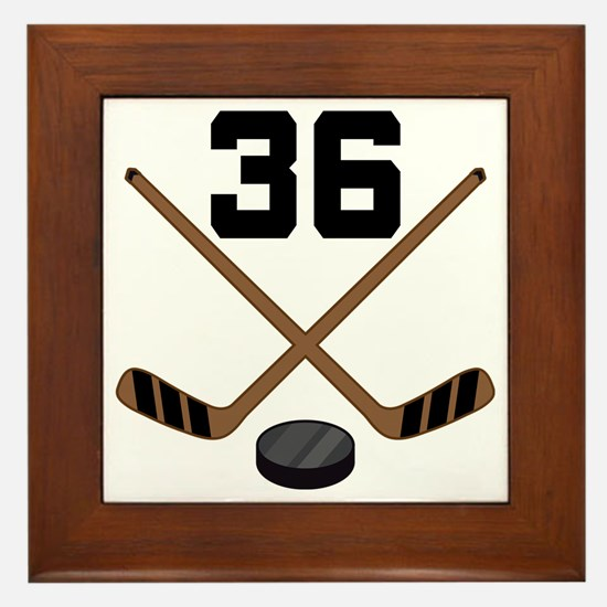Hockey Player Number 36 Framed Tile