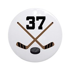 Hockey Player Number 37 Ornament (Round)
