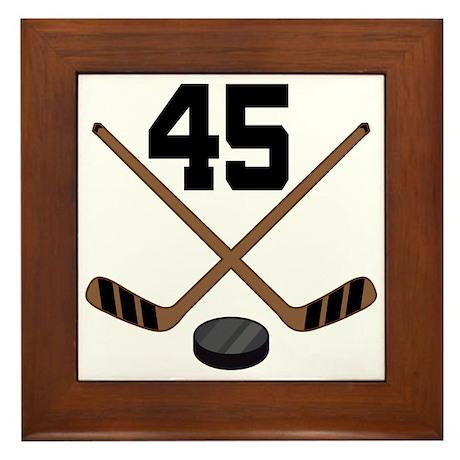 Hockey Player Number 45 Framed Tile