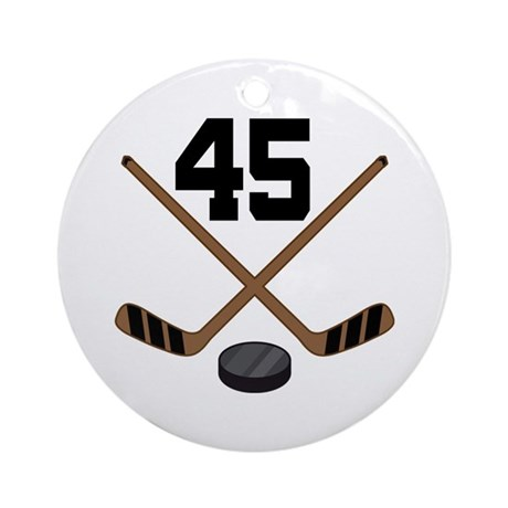 Hockey Player Number 45 Ornament (Round)