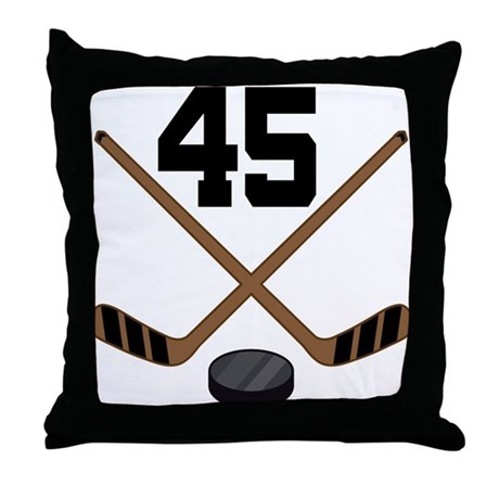 Hockey Player Number 45 Throw Pillow