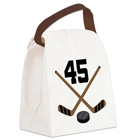 Hockey Player Number 45 Canvas Lunch Bag