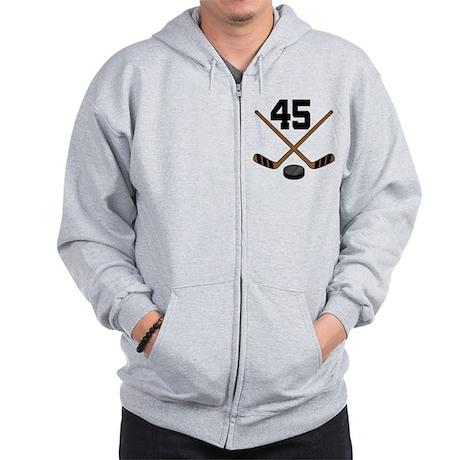 Hockey Player Number 45 Zip Hoodie