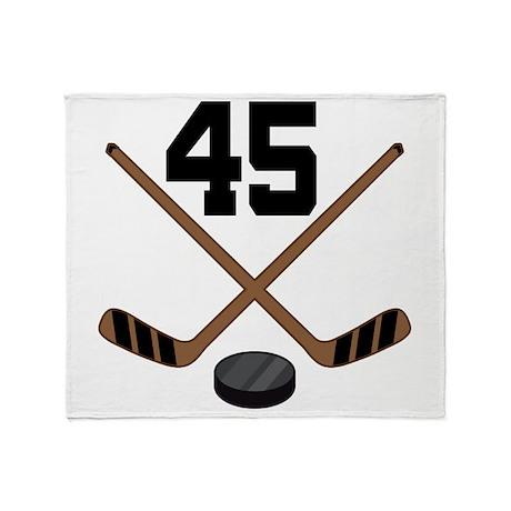 Hockey Player Number 45 Throw Blanket