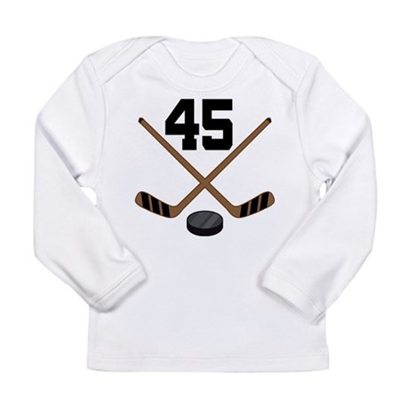 Hockey Player Number 45 Long Sleeve Infant T-Shirt