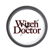 Witch Doctor (text) Wall Clock
