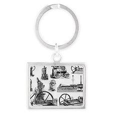 19th century steam engines - Landscape Keychain
