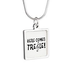 Here Comes Treble Silver Square Necklace